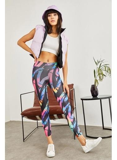 Sortee Kadın Çok Renkli Digital Baskılı Toparlayıcı Fitness Tayt Renkli